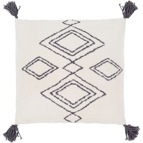 Almohada Cream Bohemian Tassel 20 Inch Down or Poly Filled Pillow