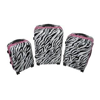 3 Pc. Locking Zebra/Pink Expandable Hard Shell Rolling Luggage Set