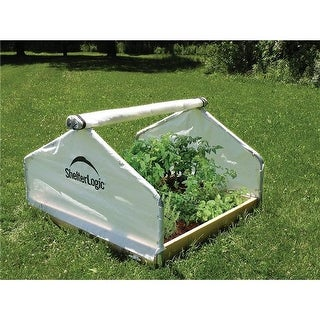 4 x 4 x 2 ft. 4 in. Peak Raised Bed Greenhouse with Roll-Up Cover