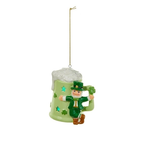 "3.25"" Luck of the Irish Leprechaun and Mint Green Mug Decorative Christmas Ornament"