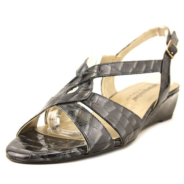 Walking Cradles Dixie Women N/S Open Toe Patent Leather Blue Wedge Sandal