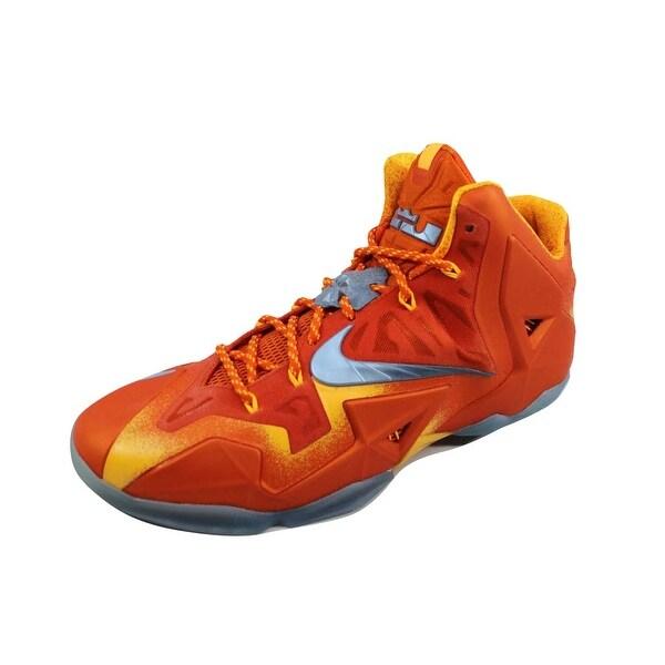a3d8430dbd5168 Shop Nike Men s Lebron XI 11 Preheat Urban Orange Light Armory Blue ...