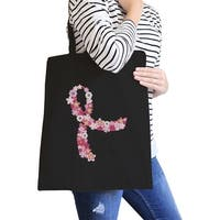 Pink Floral Ribbon Cute Design Canvas Tote Bag Washable Eco Bag