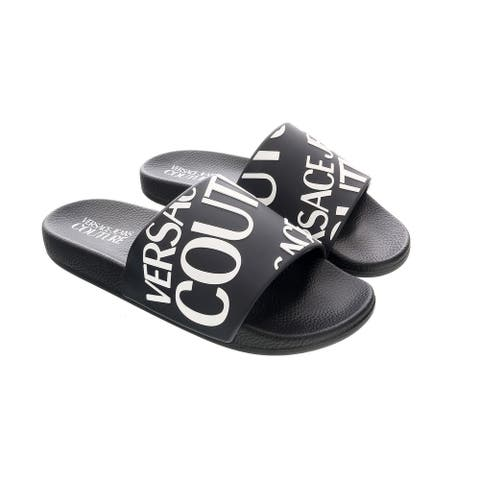 Versace Jeans Couture Black/White Logo Slide-