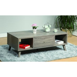 Elegant Wooden Coffee Table With Drawer, Gray