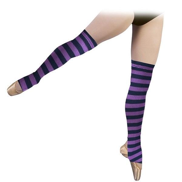 Sansha Little Girls Navy Purple Stripe Stirrup Acrylic Dance Leg Warmers S/M