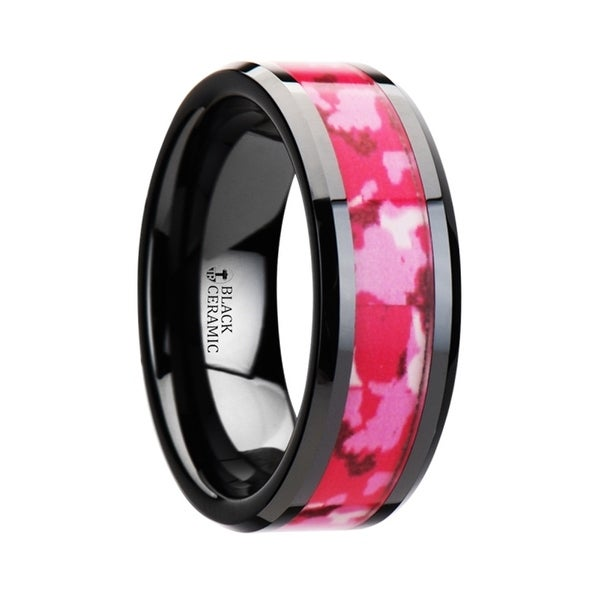 SIERRA Black Ceramic Ring with Pink and White Camouflage Inlay
