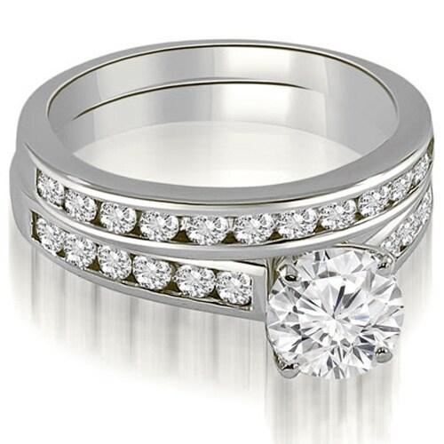 1.52 cttw. 14K White Gold Cathedral Channel Set Round Cut Diamond Bridal Set