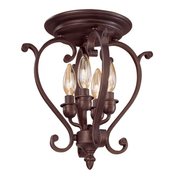 Millennium Lighting 1224 Oxford 4-Light Semi-Flush Ceiling Fixture - Rubbed bronze