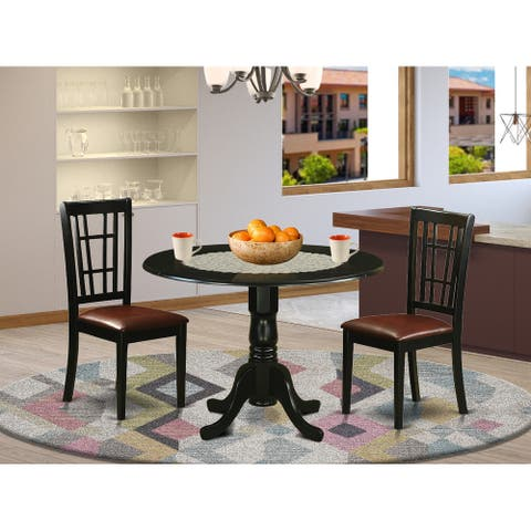 DLNI3-BLK 3 Pc Table set for 2-Dinette Table and 2 dinette Chairs