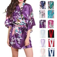 Womens Satin Robe Mid-Length Lightweight Dressing Gown