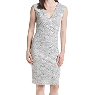 Connected Apparel NEW Gray Gunmetal Floral Lace Sequin 8 Sheath Dress