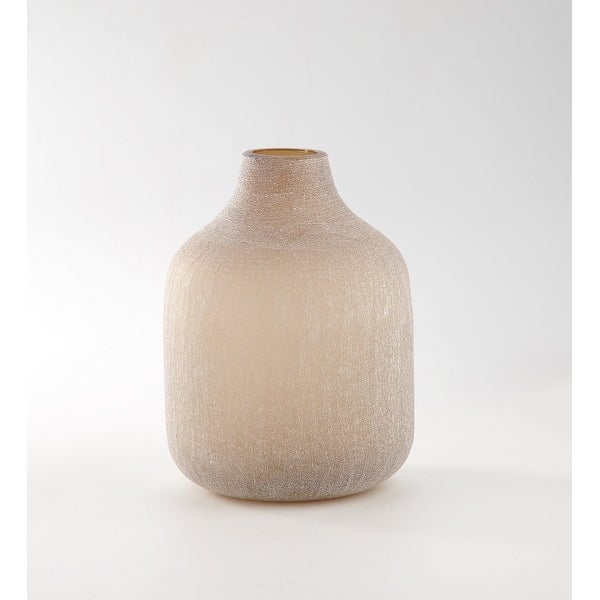 """9.5"""" Cream Rustic Weathered Hand Blown Glass Vase - N/A"""