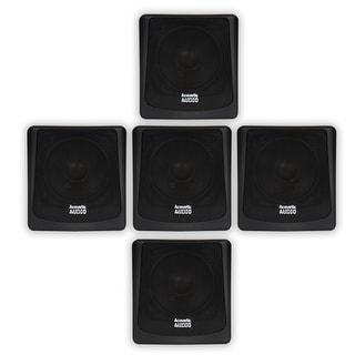 Acoustic Audio AA051B Mountable Indoor or Outdoor Speakers Black Bookshelf 5 Piece Set AA051B-5S