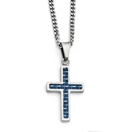 Chisel Stainless Steel Blue Carbon Fiber Inlay Polished Small Cross Necklace (3 mm) - 20 in