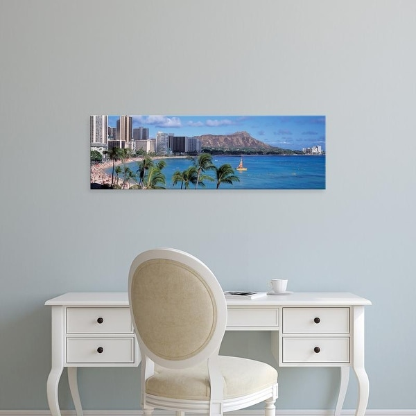 Easy Art Prints Panoramic Images's 'Waikiki Beach, Honolulu, Hawaii, USA' Premium Canvas Art