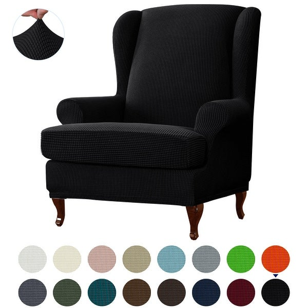Subrtex 2-Piece Stretch Wing Chair Cover Textured Grid Furniture Cover. Opens flyout.
