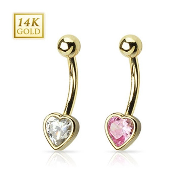 "14 Karat Solid Yellow Gold Heart CZ Bezel Set Navel Belly Button Ring - 14GA 3/8"" Long"