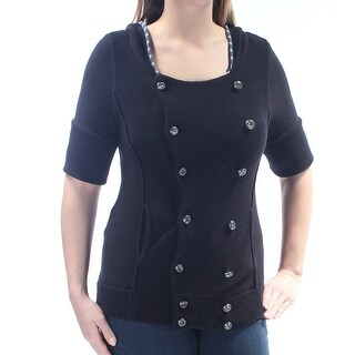 FREE PEOPLE $128 Womens New 1479 Black Button&hooded Short Sleeve Sweater L B+B