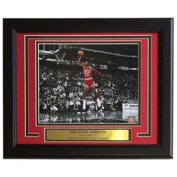 Michael Jordan Framed 8x10 Bulls Spotlight 1988 Gatorade Slam Dunk ...