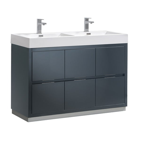 Fresca FCB8448-D-I Senza Double Vanity Set with Wood Cabinet and Acrylic Vanity Top