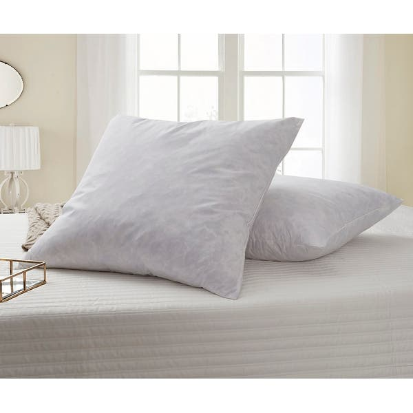 European Square 26 X 26 Inch Feather Pillows Set Of 2 White Overstock 3840979