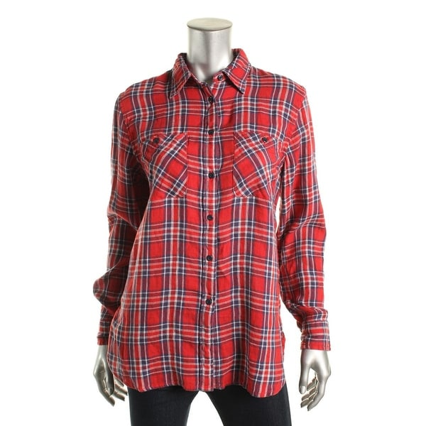 Denim & Supply Ralph Lauren Womens Quince Button-Down Top Plaid Utility