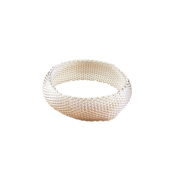 eli k Womens Sterling Silver 925 Plate Soft Mesh Wide Bangle Bracelet