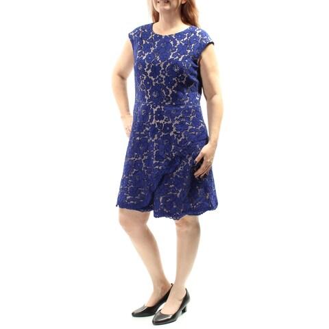 VINCE CAMUTO $168 Womens New 1063 Blue Zippered Lace Sheath Dress 14 B+B