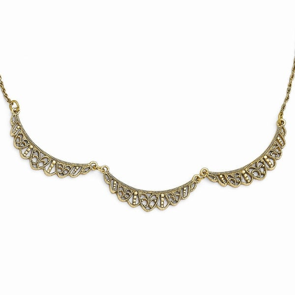 Goldtone Textured Necklace - 16in