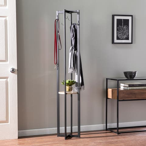 Porch & Den Masselin Contemporary Black/ Natural Metal Coat Rack