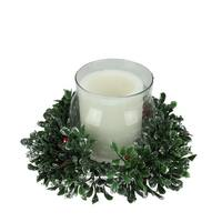 """11"""" Boxwood and Berry Silver Tipped Christmas Hurricane Pillar Candle Holder"""