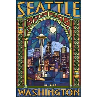 Seattle, Washington - Stained Glass Window - Lantern Press Artwork (Cotton/Polyester Chef's Apron)