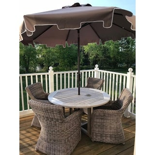 Safavieh Zimmerman Grey Aluminum Tilt And Crank 9 Foot Market Patio Umbrella With Flap
