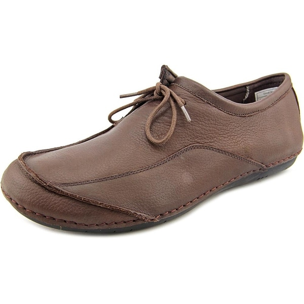 NoSox Skew Men Round Toe Leather Brown Oxford