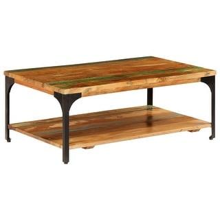 "vidaXL Coffee Table with Shelf 39.4""x23.6""x13.8"" Reclaimed Wood"
