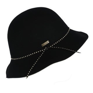 Adora Women's Wool Felt Cloche with Studded Faux Leather Band