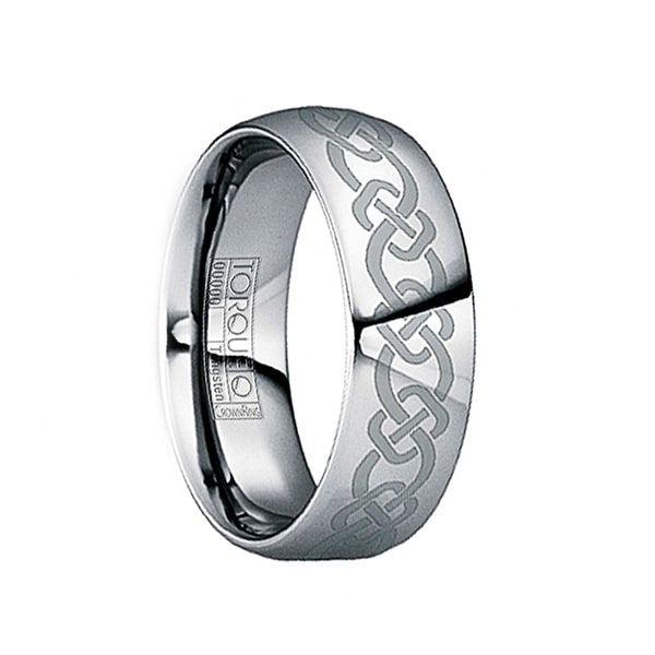 GLAUCIA Polished Tungsten Wedding Band with Thick Celtic Knot Engraving by Crown Ring - 6mm