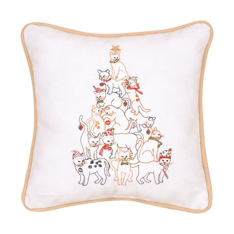 Cat Tree Embroidered Decorative Accent Throw Pillow