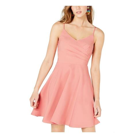 Trixxi Women's Dress Blush Pink Size Large L A-Line Ruched V-Neck