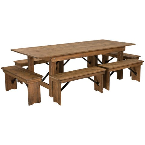 """8' x 40"""" Antique Rustic Folding Farm Table and Six Bench Set"""