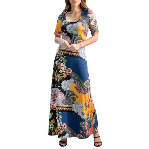 24seven Comfort Apparel Navy Floral Elbow Sleeve Maxi Dress, R004680MST, Made in USA