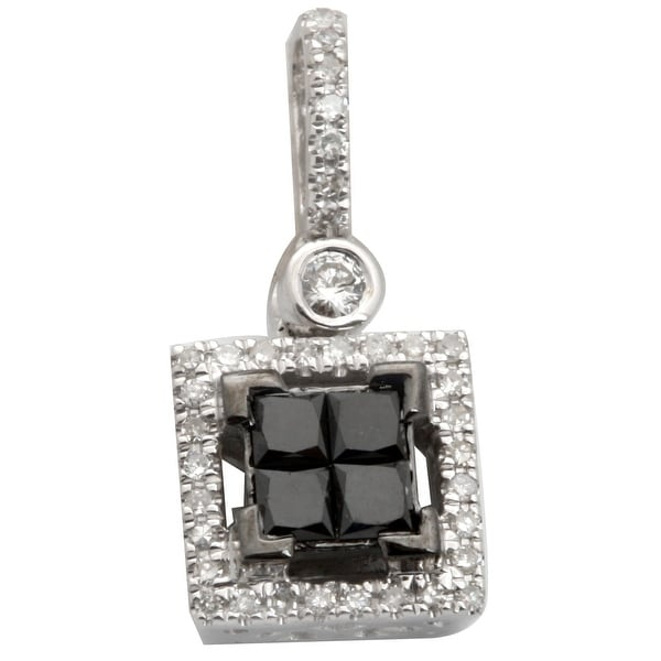 Brand New 0.40 Carat Princess Cut Black Diamond With Round Diamond Square Pendant