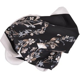 New Gucci Women's 394545 Black GG Floral Print Twill Neck Scarf