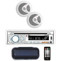 "Marine Single-DIN In-Dash CD AM/FM Receiver with Two 6.5"" Speakers, Splashproof Radio Cover & Bluetooth(R) (White)"