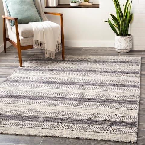 Arica Handmade Casual Stripe Wool Area Rug