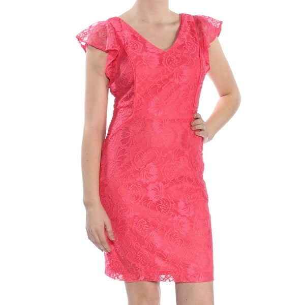 KENSIE Womens Coral Lace Flutter Sleeve V Neck Above The Knee Sheath Party Dress Size: 8