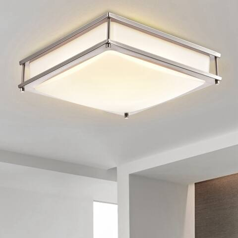 Square Satin Nickel Dimmable LED Flush Mount Ceiling Light with Selectable Color Temperature 3000K/4000K/5000K