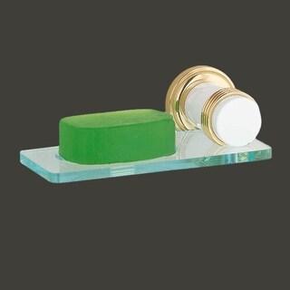 Glass Soap Dish Holder Victorian Spectrum Brass Bracket