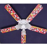 Disney's Red Mickey Mouse Print Blades 52in Ceiling Fan Light Kit - Multi